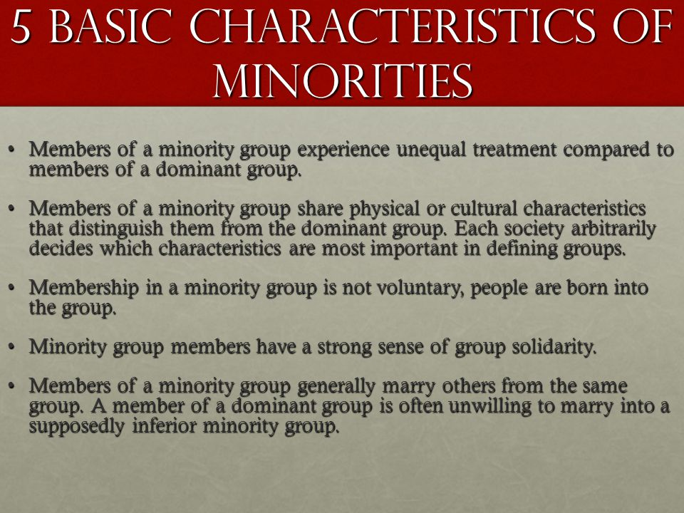 5 Basic Characteristics of Minorities