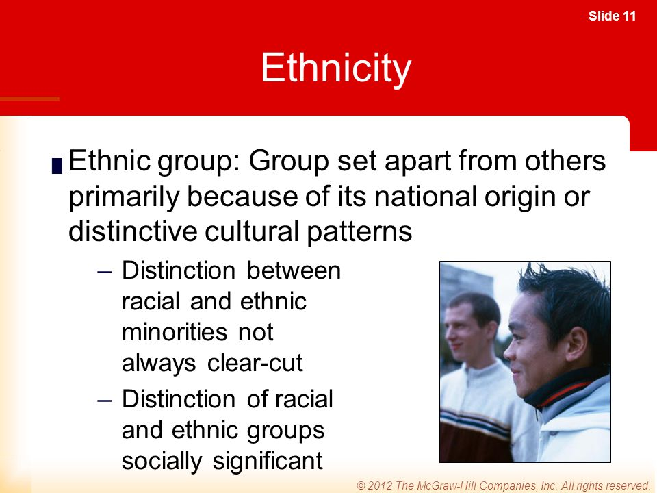 Ethnicity Ethnic group: Group set apart from others primarily because of its national origin or distinctive cultural patterns.
