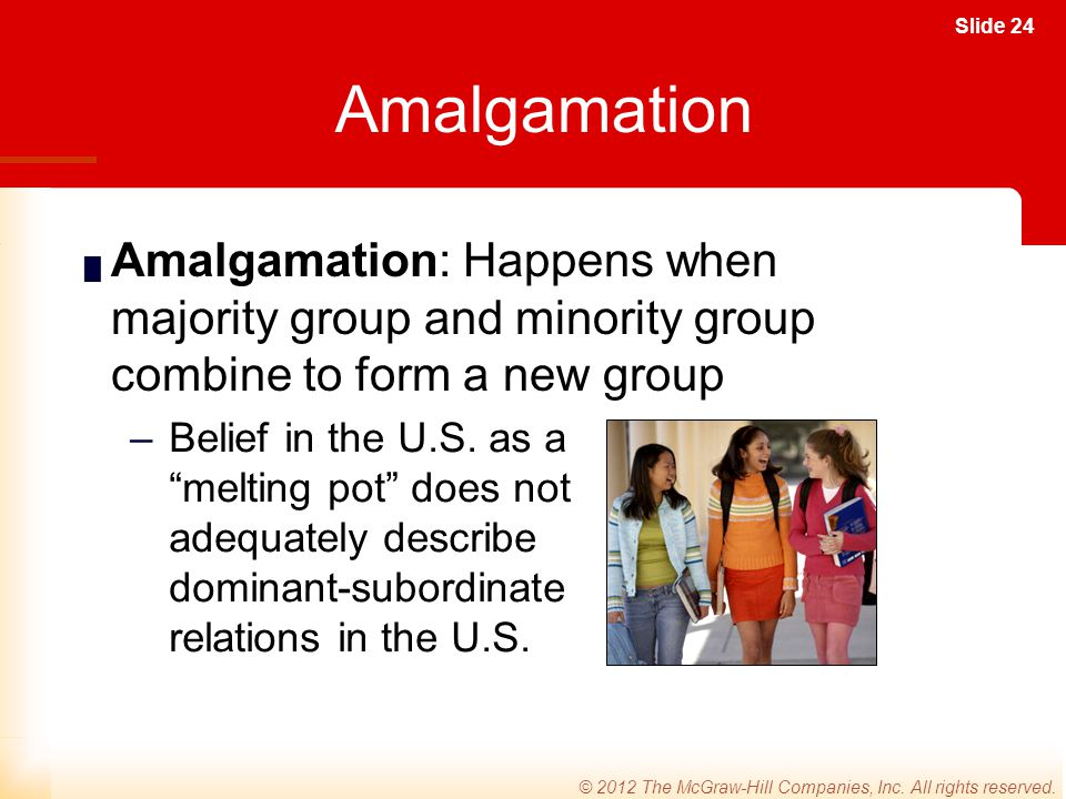 Amalgamation Amalgamation: Happens when majority group and minority group combine to form a new group.