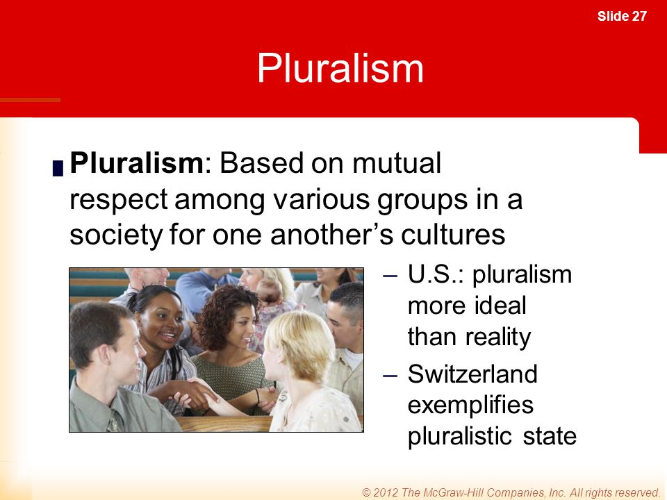 Pluralism Pluralism: Based on mutual respect among various groups in a society for one another's cultures.