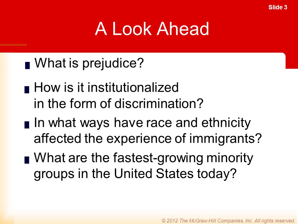 A Look Ahead What is prejudice