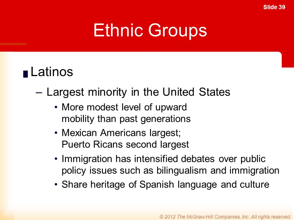 Ethnic Groups Latinos Largest minority in the United States