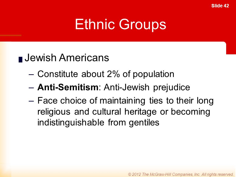 Ethnic Groups Jewish Americans Constitute about 2% of population