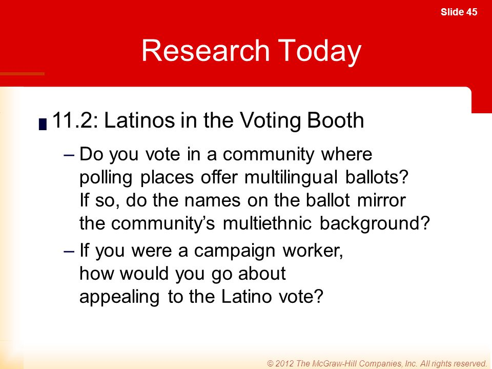 Research Today 11.2: Latinos in the Voting Booth