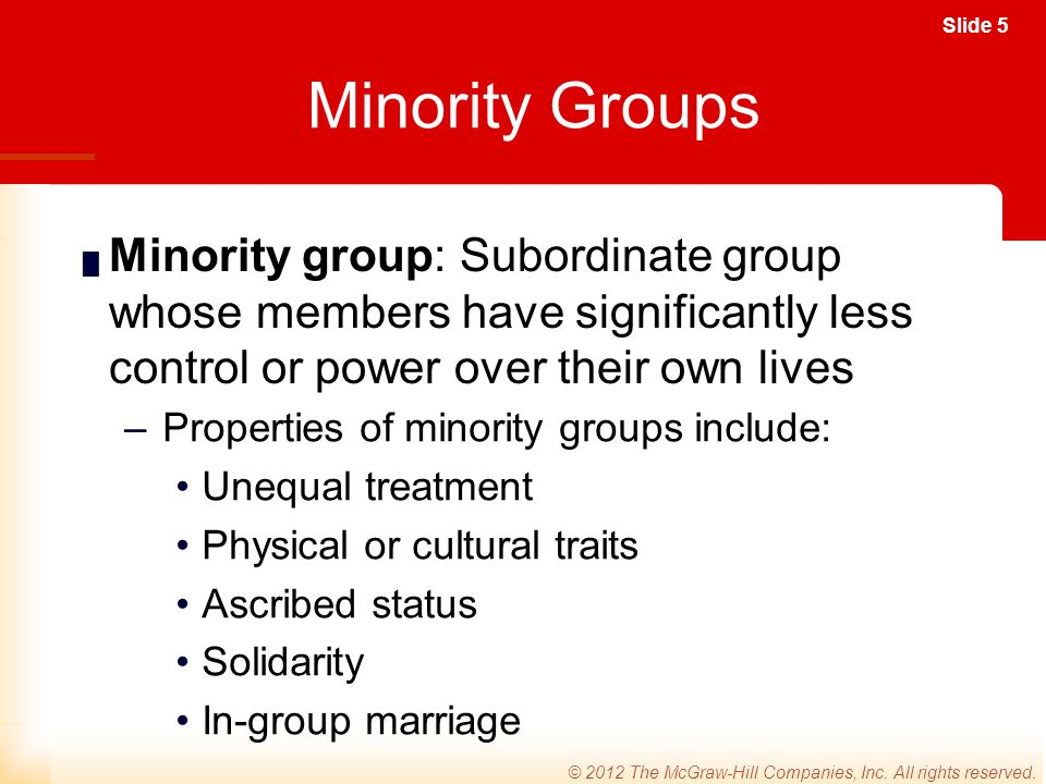 Minority Groups Minority group: Subordinate group whose members have significantly less control or power over their own lives.