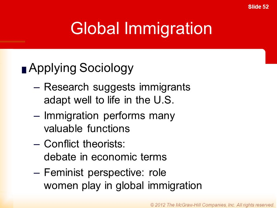 Global Immigration Applying Sociology
