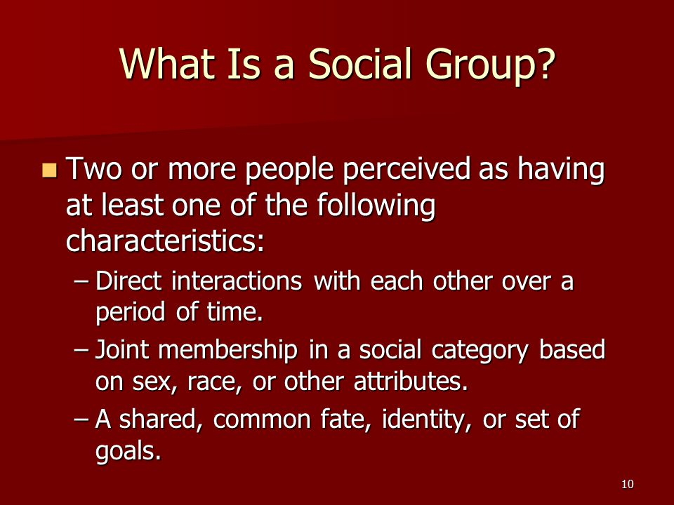 What Is a Social Group Two or more people perceived as having at least one of the following characteristics: