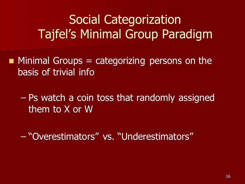 Social Categorization Tajfel's Minimal Group Paradigm