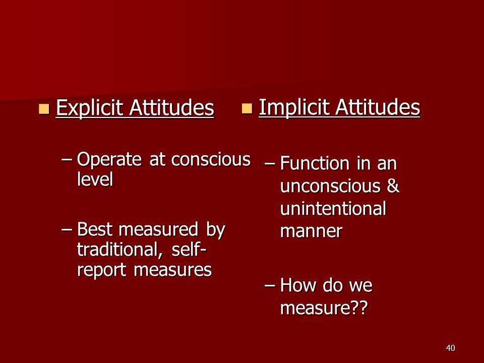 Implicit Attitudes Explicit Attitudes Operate at conscious level