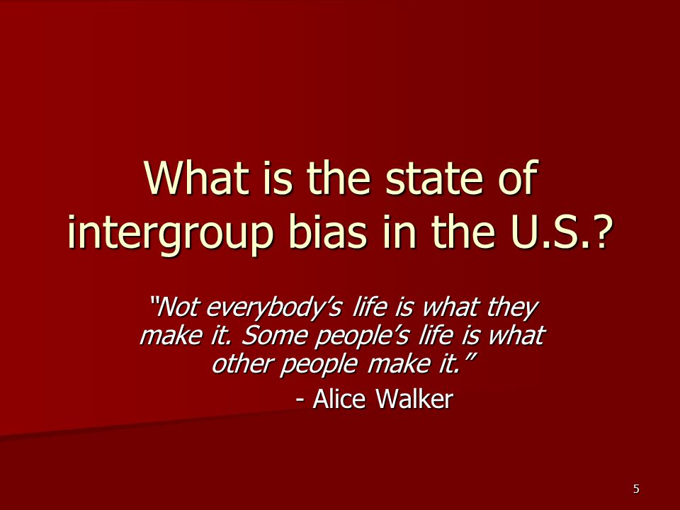 What is the state of intergroup bias in the U.S.