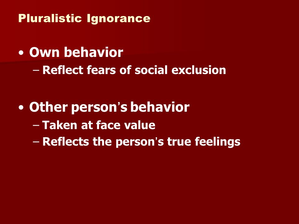 Other person's behavior