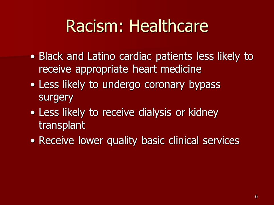 Racism: Healthcare Black and Latino cardiac patients less likely to receive appropriate heart medicine.