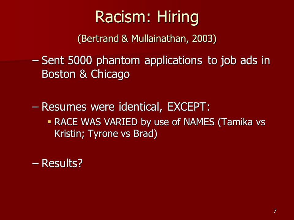 Racism: Hiring (Bertrand & Mullainathan, 2003)