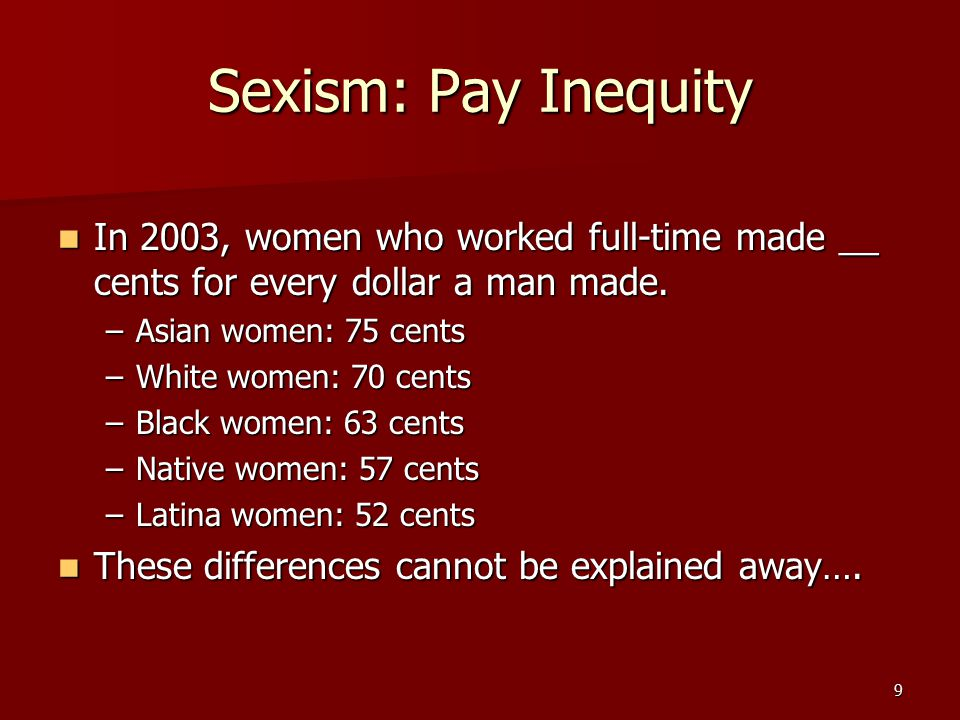 Sexism: Pay Inequity In 2003, women who worked full-time made __ cents for every dollar a man made.