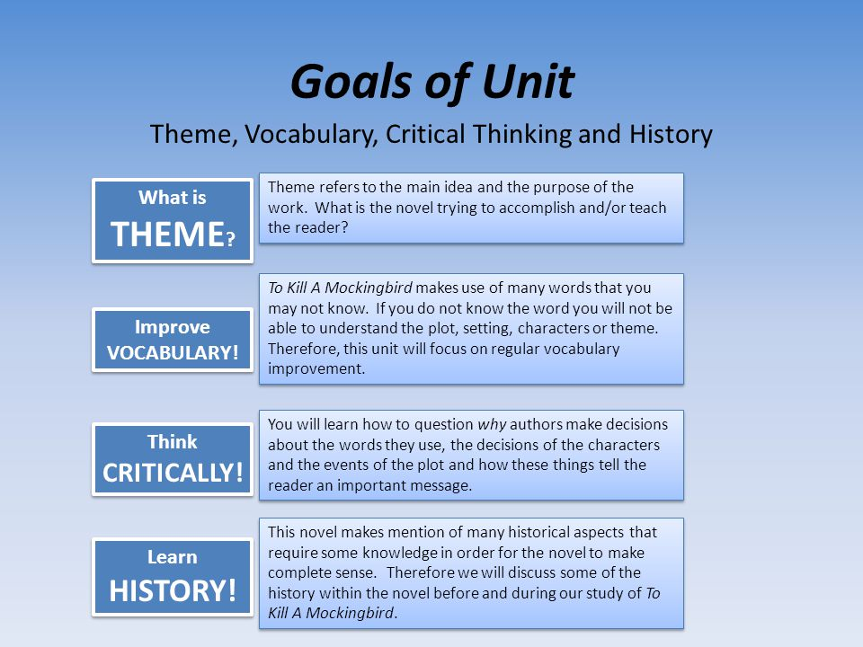 Theme, Vocabulary, Critical Thinking and History
