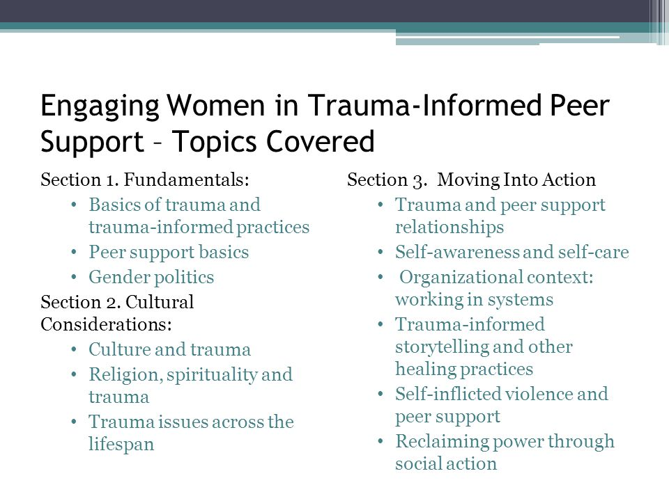 Engaging Women in Trauma-Informed Peer Support – Topics Covered