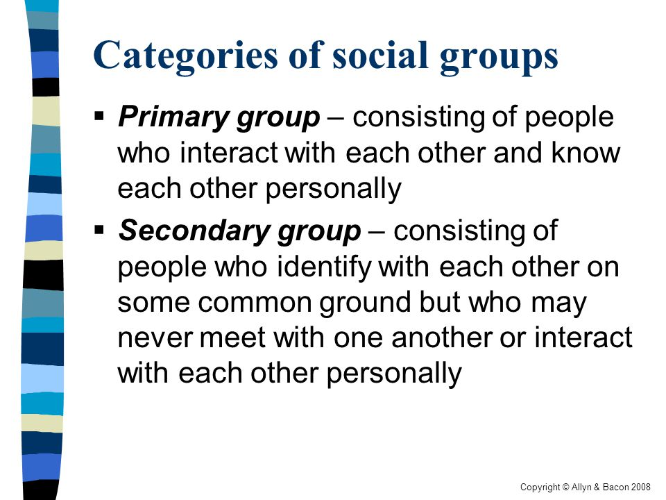 Categories of social groups