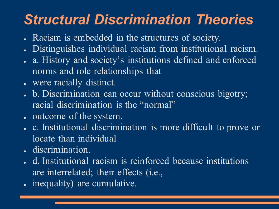 Structural Discrimination Theories