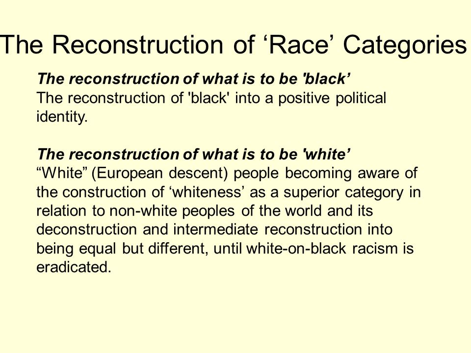 The Reconstruction of 'Race' Categories