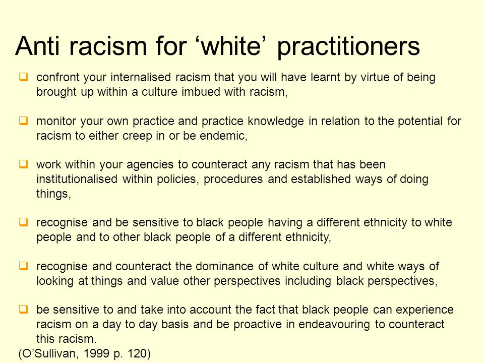 Anti racism for 'white' practitioners
