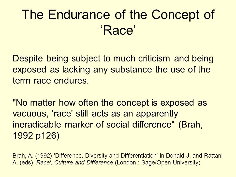 The Endurance of the Concept of 'Race'
