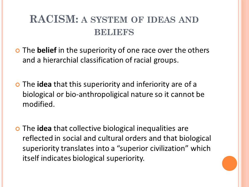 RACISM: a system of ideas and beliefs