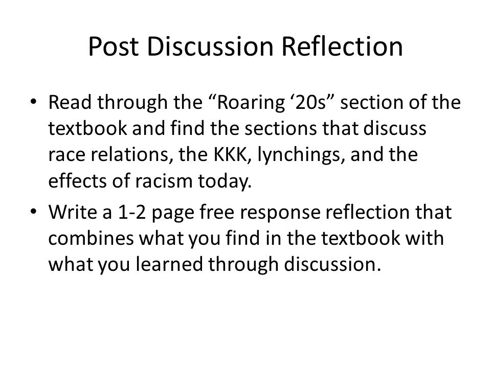 Post Discussion Reflection