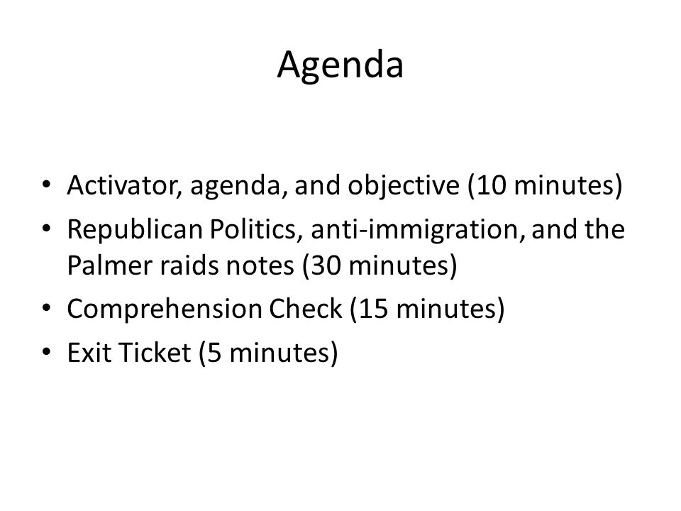 Agenda Activator, agenda, and objective (10 minutes)