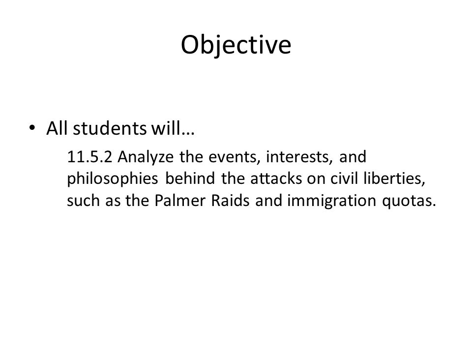Objective All students will…