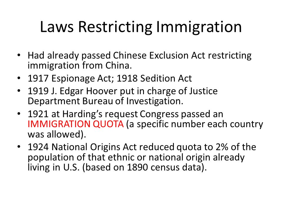 Laws Restricting Immigration