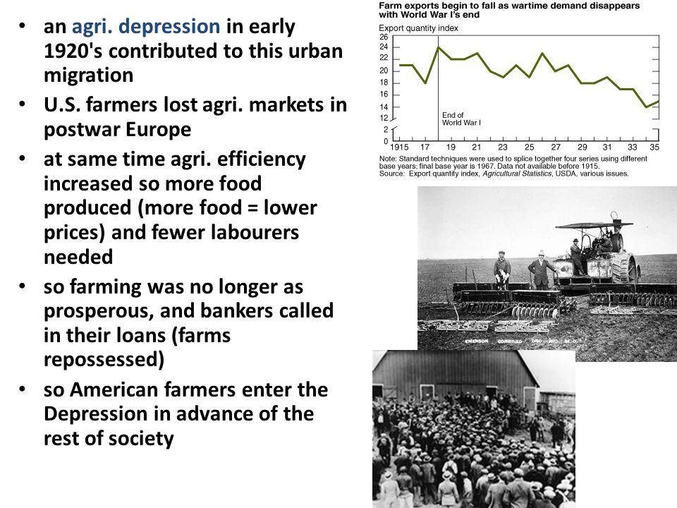 an agri. depression in early 1920 s contributed to this urban migration
