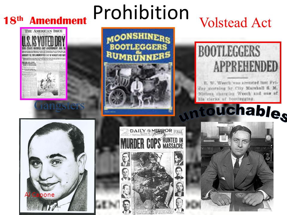 Prohibition Volstead Act untouchables Gangsters 18th Amendment