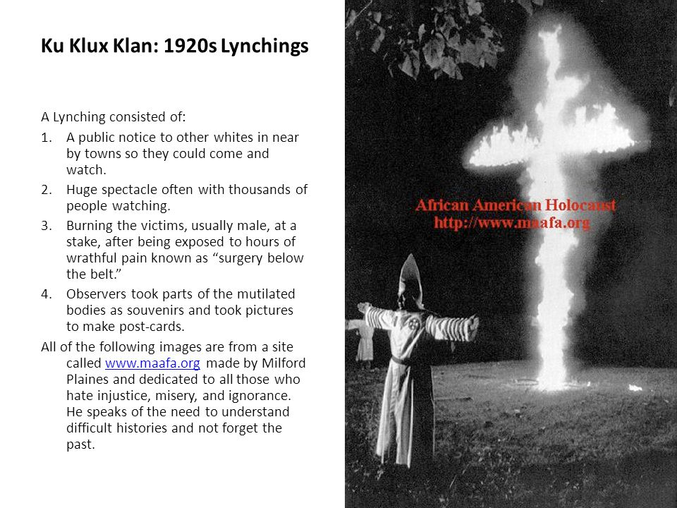 Ku Klux Klan: 1920s Lynchings