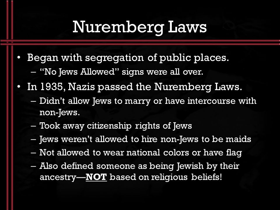 Nuremberg Laws Began with segregation of public places.