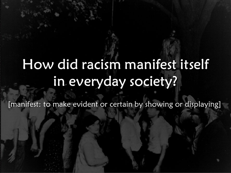 How did racism manifest itself in everyday society