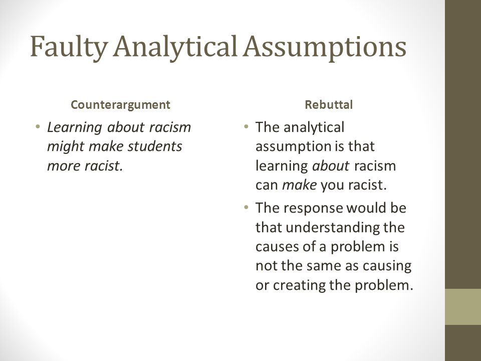 Faulty Analytical Assumptions