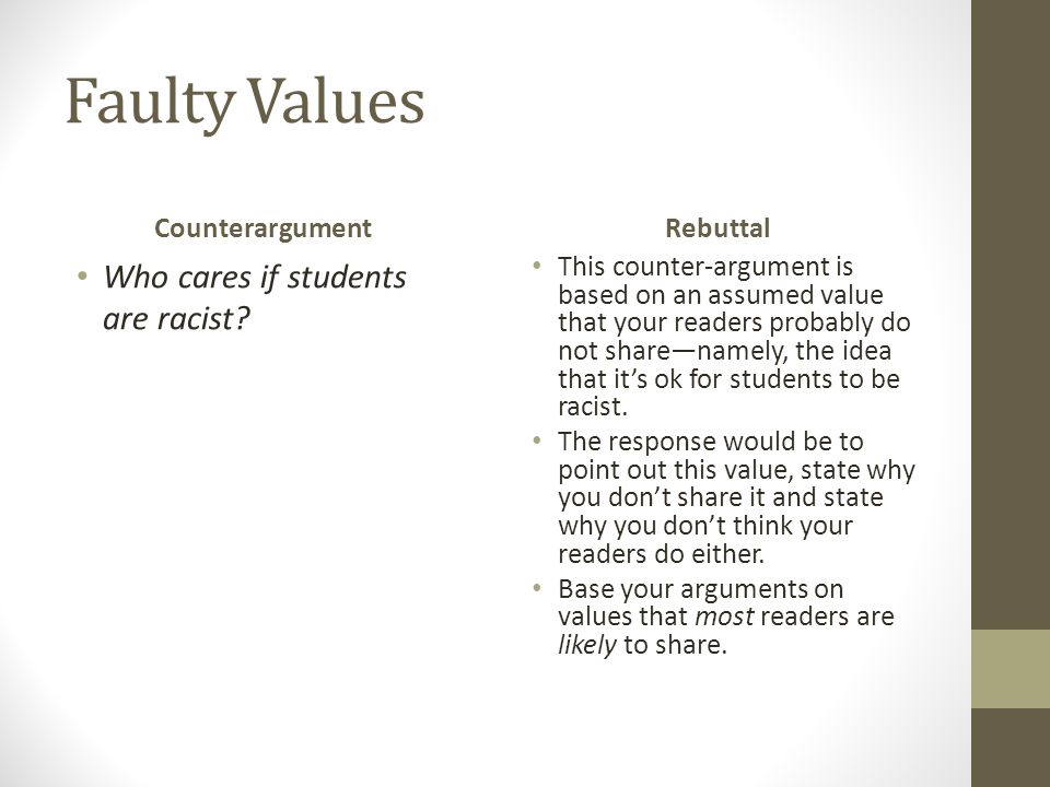 Faulty Values Who cares if students are racist Counterargument