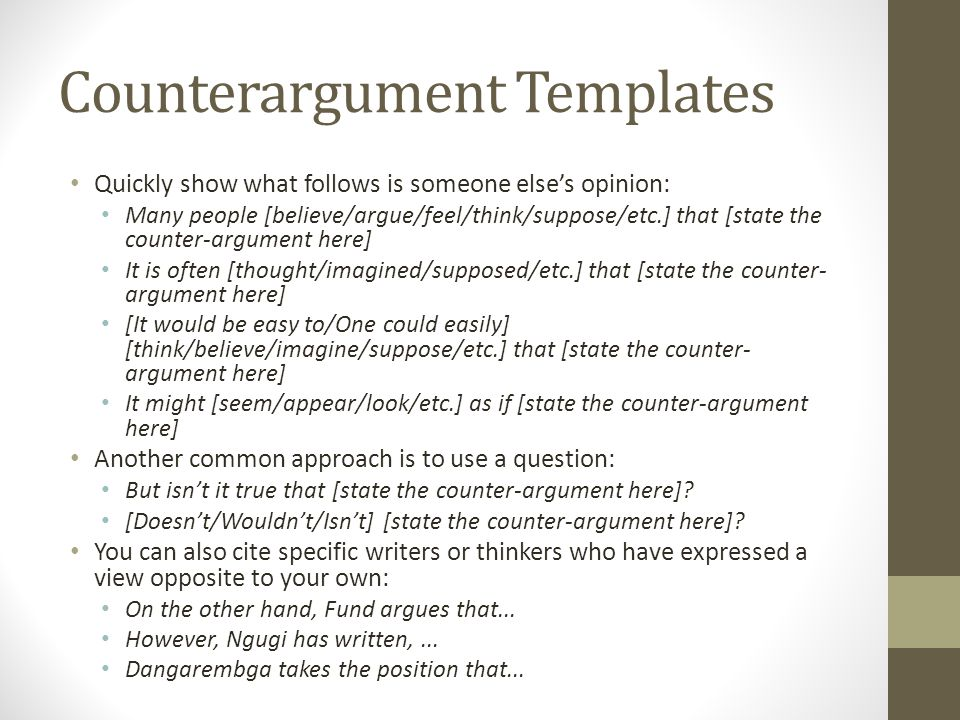 Counterargument Templates