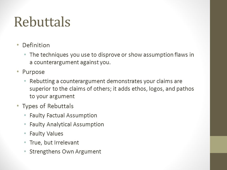 Rebuttals Definition Purpose Types of Rebuttals