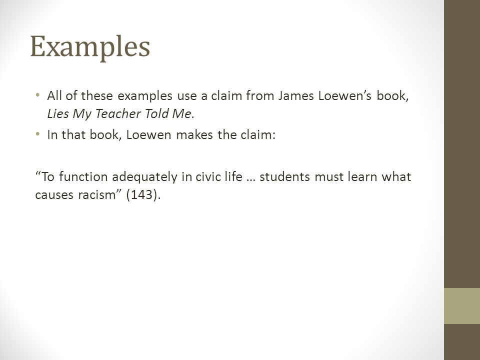 counterarguments rebuttals ppt  examples all of these examples use a claim from james loewen s book lies my teacher