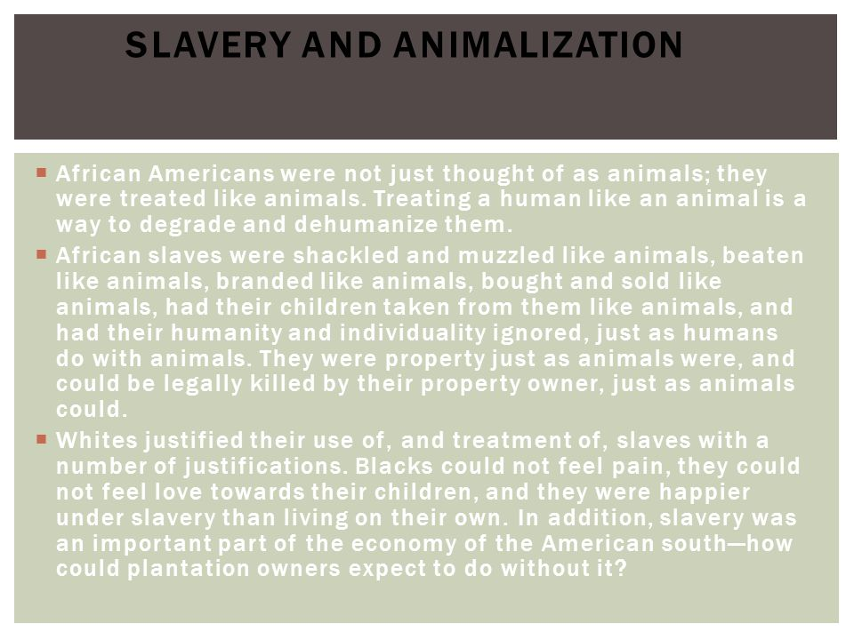 Slavery and Animalization