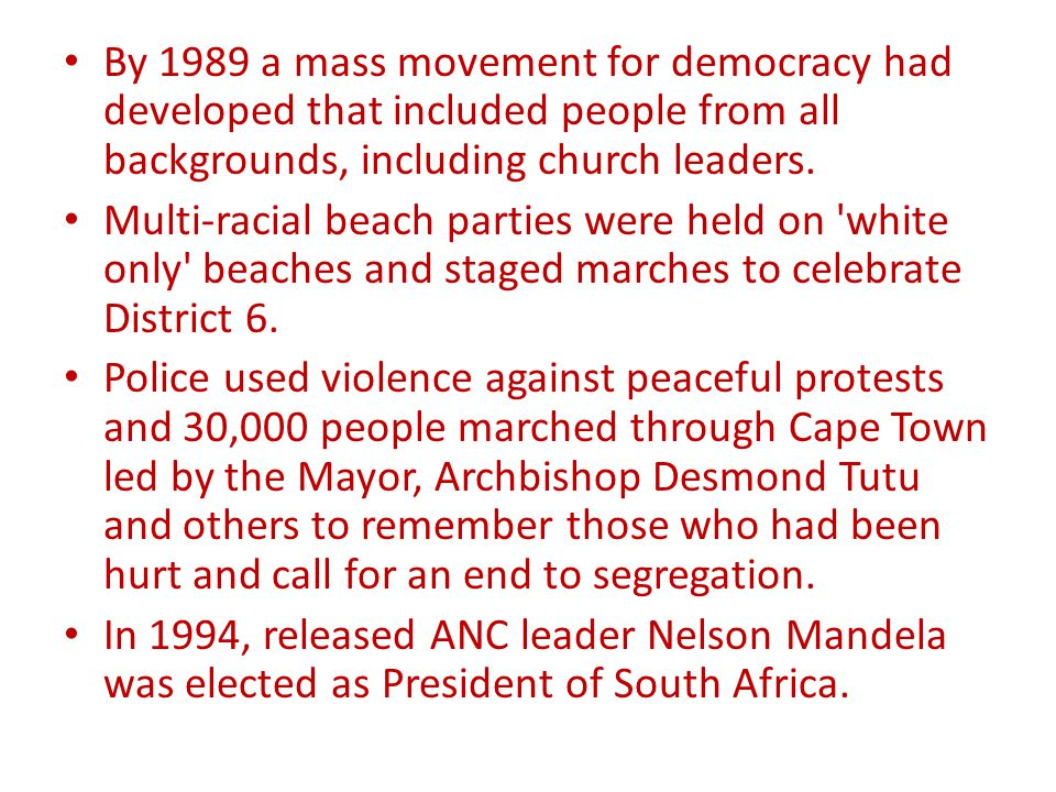 By 1989 a mass movement for democracy had developed that included people from all backgrounds, including church leaders.