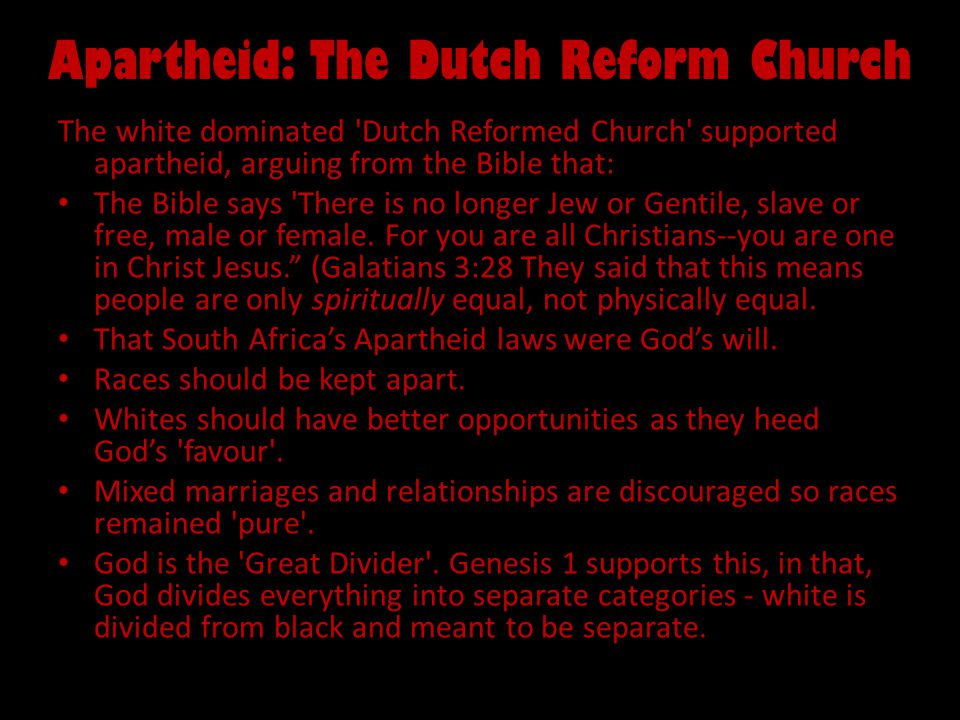 Apartheid: The Dutch Reform Church