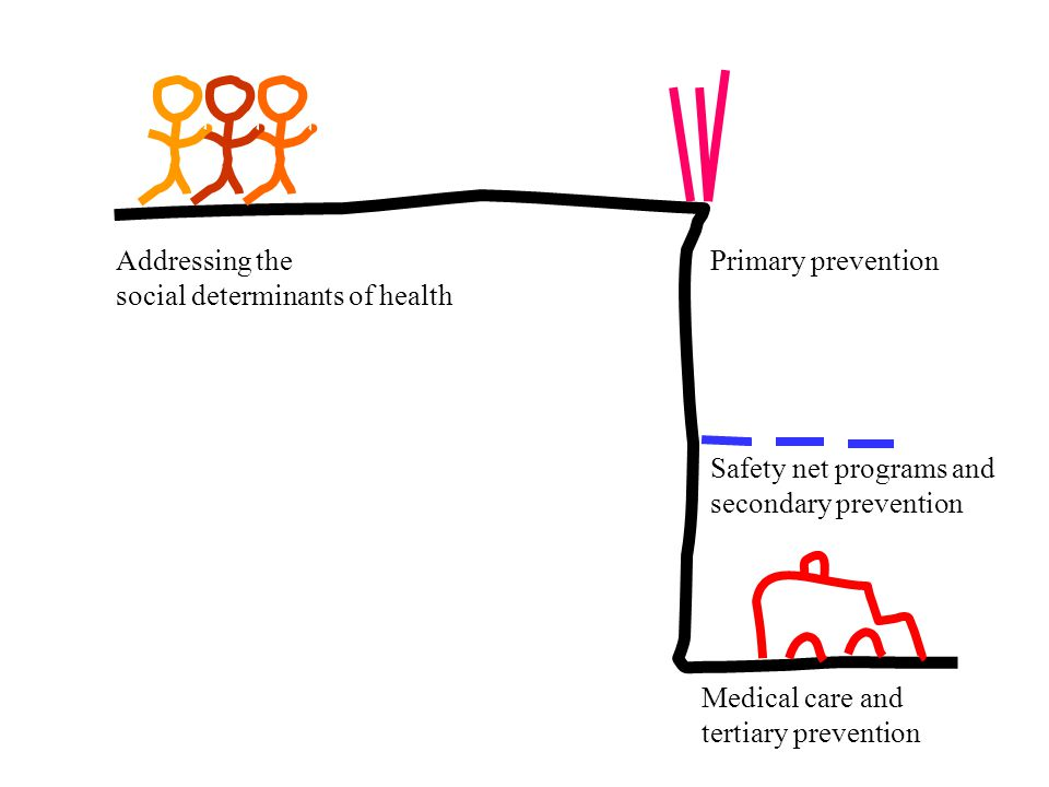 Addressing the social determinants of health. Primary prevention. Safety net programs and secondary prevention.