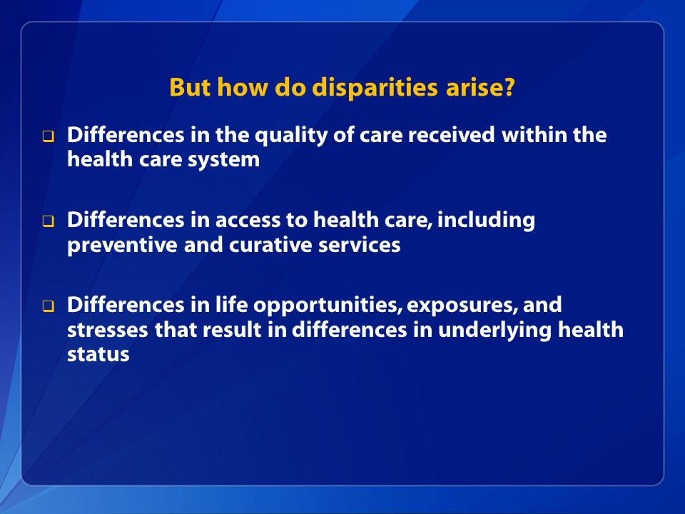 But how do disparities arise