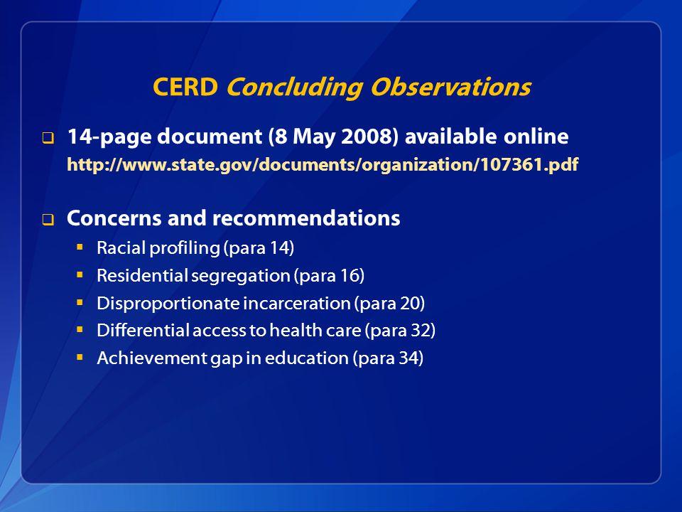 CERD Concluding Observations
