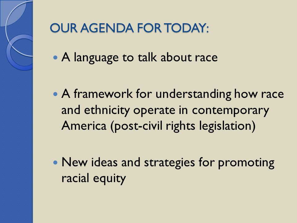 OUR AGENDA FOR TODAY: A language to talk about race.