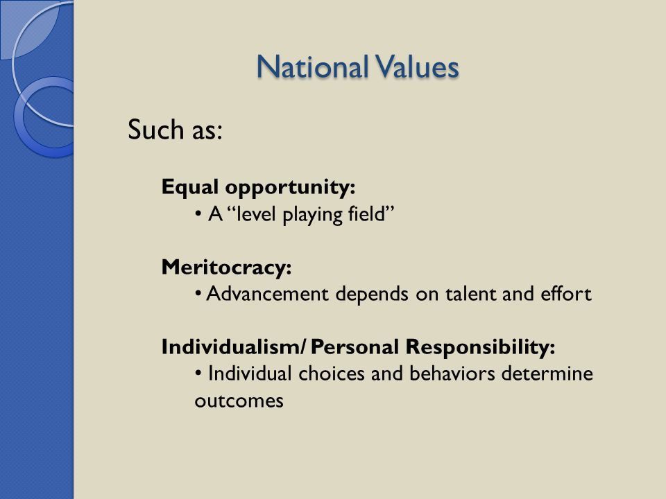 National Values Such as: Equal opportunity: A level playing field