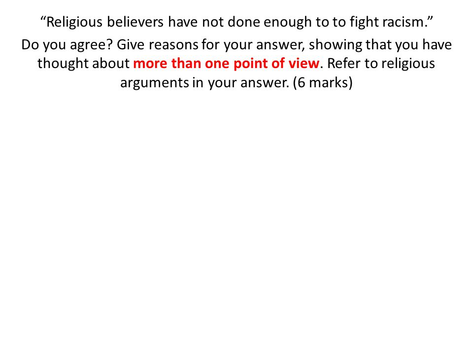 Religious believers have not done enough to to fight racism