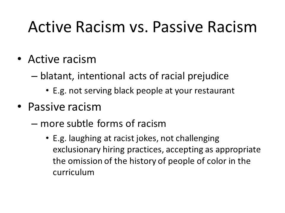Active Racism vs. Passive Racism